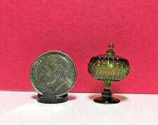Dollhouse Miniature Chrysnbon Candy Dish - Dark Green Large - No Lid 1:12