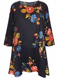 T-Shirt Bluse Shirt Longshirt Top Longtop Blumen bunt-gemustert Gr. 48 Neu
