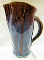 "Vtg Bill Campbell Blue Brown Purple Drip Glaze Pottery 9"" Water Juice Pitcher"