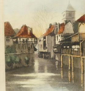 Salies de Béarn circa 1920 Eau-Forte Originale Colorée à l'Aquarelle Signée