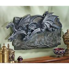 Gothic Trio of Dragons Castle High Relief Medieval Wall Plaque