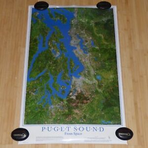 PUGET SOUND FROM SPACE 1987 SATELLITE IMAGE MAP POSTER SEATTLE WASHINGTON