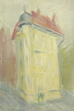 Abstract cityscape vintage oil painting