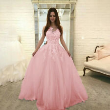 Evening Party Women Fashion Floral Lace Wedding Chiffon Dress Ball Gown Dress CA