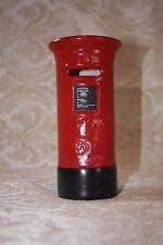 Vintage ER English Royal Post Office Mail Drop Box Red Black Ceramic Piggy Bank