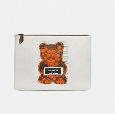 Coach F77886 Most Wanted Vandal Gummy Bear Large Chalk Leather Pouch Laptop NEW
