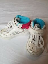 Unisex baby girl boy Adidas Hi Tops size infant UK 3 white / pink/ blue