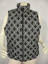 LANDS' END GEOMETRIC PRINT DOWN PUFFER SLEEVELESS JACKET VEST WOMEN'S L 14-16
