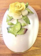 Vintage Coalport Bone China Egg Trinket Box Yellow Rose w/ Gold Trim