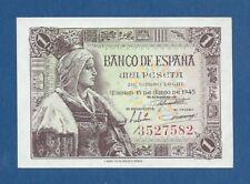 ESPAÑA // SPAIN -- 1 PESETA ( 1945 ) -- SC- // aUNC -- SIN SERIE // NO SERIAL .