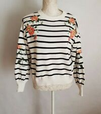 Topshop Flower Embroidered Striped White Knitted Cotton Jumper Size 8