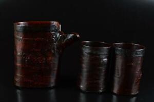 L1925: Japanese Wooden Lacquer ware Sencha TEACUPS YUSAMASHI Tea Ceremony