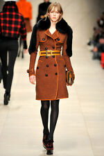 Burberry Prorsum Runway Tangerine Wool and Blue Fox Fur Coat 38 with Runway Belt