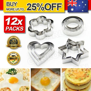 12 pieces Biscuit cookie Cutter set star round flower heart shape cutters mould