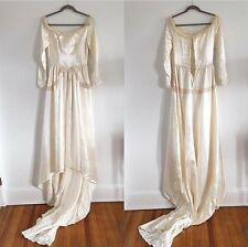 1930's 1940's Satin Wedding Gown With Crochet Lace From And Rhinestones Size Sm