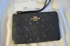 AUTHENTIC COACH LEATHER EMBOSSED LOGO SIGNATURE PURSE BAG WRISTLET BLACK NEW