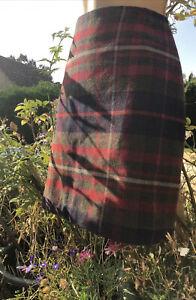 Esprit -16 - Wool Tartan Tweed Fab Short Pencil Skirt