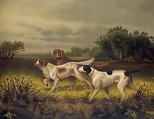 "1844- Bird Dogs, Hunting, wildlife, antique,Beautiful Canvas art print, 20""x16"""