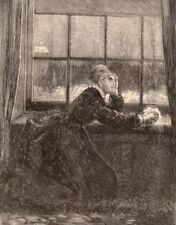 Antique Victorian Art print engraving 1876 Oh Pitiless Moon lady in mourning sad