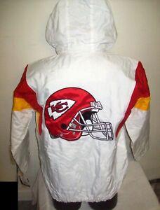 KANSAS CITY CHIEFS NFL Starter Hooded Half Zip Pullover Jacket SMALL   WHITE