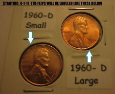 1960-D SMALL DATE UNCIRCULATED LINCOLN MEMORIAL CENT & 1960 D LARGE DATE CENT