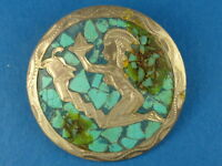 VINTAGE SIGNED JC STERLING SILVER MOSAIC MEXICAN PENDANT PIN BROOCH