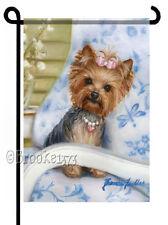 YORKIE painting GARDEN FLAG Dog Art Yorkshire Terrier puppy