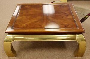 Mid Century Modern Mastercraft Brass & Wood Square Asian Coffee Table 1960s