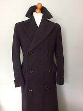 Vintage 1940's Half Belted Blue Herringbone Overcoat Size 38