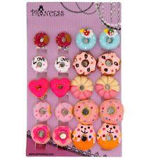 Lot Color Cute Doughnut Clip-on Non Pierced Earrings Kids Teen Girls Women Gift