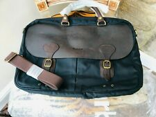NEW BARBOUR WAX LEATHER BRIEFCASE WITH CLASSIC TARTAN LINING & SHOULDER STRAP