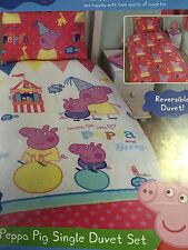 Peppa Pig Funfair Reversible Single Duvet Cover Bed Set 135 X 200cm P4pp#