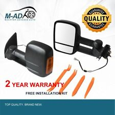 Pair Electric Towing Extendable Side Mirrors Black For Ford Ranger 2012-2018