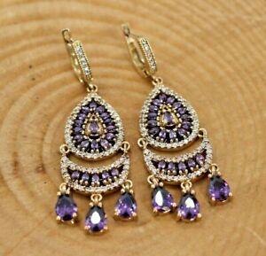 Purple Amethyst Turkish Handmade Silver 925 Beautiful Earrings