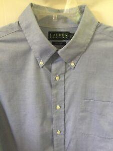 RALPH LAUREN Men's L/S Button Down Shirt Blue Non Iron 17 32/33 Pocket