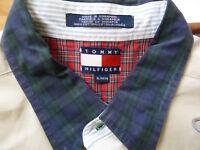 Vintage Tommy Hilfiger-Mens-Shirt-XL-Khaki Color with BlueGreen Plaid Collar