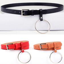 Women Unisex Designer Exaggerated Round Metal Circle Belts Big O Ring belt