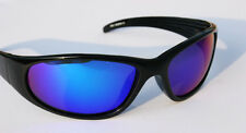MEN Black Polarized Sunglasses with Blue Mirror lens Wrap around shades FISHING