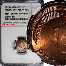 Germany - Federal Republic 1950-G 1 Pfennig NGC MINT ERROR MS64 RB SCARCE KM#105