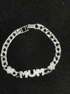 925 Sterling Silver Ladies Bracelet for Mum with heart design