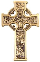 Pewter True Celtic Wall Cross in Antique Gold Tone Finish