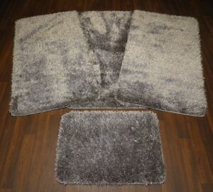 ROMANY GYPSY WASHABLE SPARKLY DESIGN SET OF 4PC MATS LARGE GREY/SILVER NON SLIP