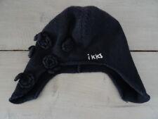 Bonnet cache oreilles tricoté laine noir brodé IKKS avec fleurs Taille 50-52 cm
