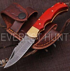 EVEREST HUNT HANDMADE DAMASCUS STEEL POCKET FOLDING KNIFE | BACK LOCK B7-*2340
