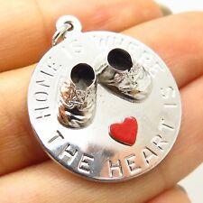 """the Heart Is"""" Baby Boots Charm Pendant Vtg Sterling Silver Enamel """"Home is Where"""