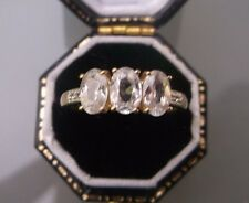 Women's Quality 10ct Gold White Sapphire Ring Size L 1/2 Weight 2.2g Stamped
