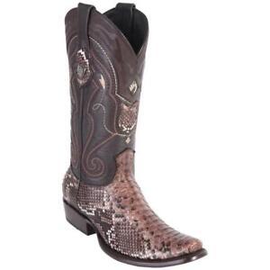 Men's Wild West Genuine Python Rust Brown Boots Dubai Toe Handcrafted