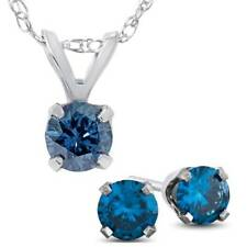 3/4ct Treated Blue Diamond Solitaire Pendant & Studs Set 10K White Gold & Chain