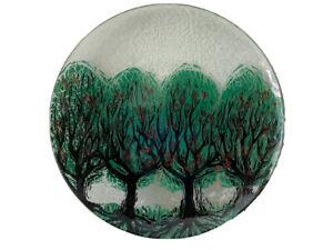 Signed JM Apples Design Fused Art Glass Plate