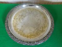 A Footed Circular Chased Sheffield Silver Plate Tray Thick And Heavy 800grams